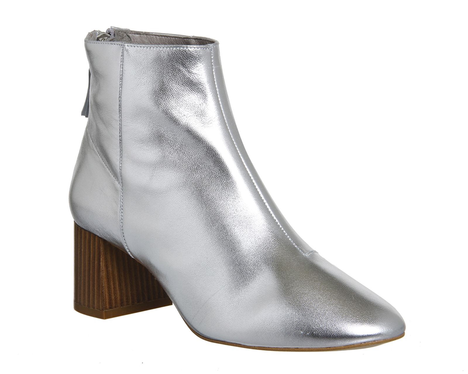 Silver Leather Office Jazz Hands Soft Mid Block Boots From Co Uk