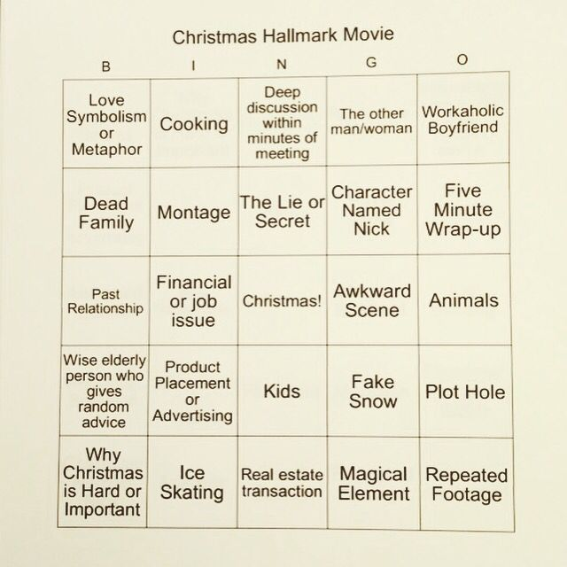 Hallmark Movie Bingo 2019