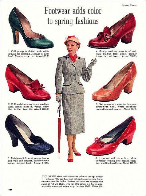 Footwear 1953 Vintage Shoes 1950s Fashion Retro Fashion