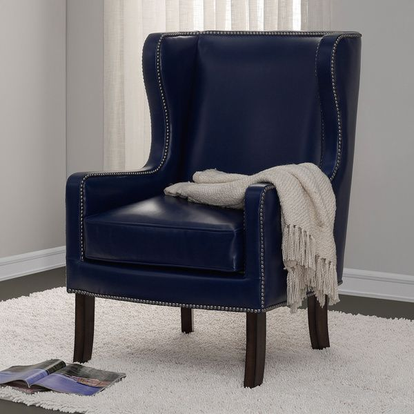 navy bonded leather nailhead oversized wing chair   bonded leather