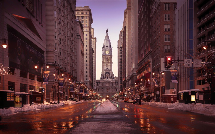Download wallpapers Philadelphia City Hall streets winter