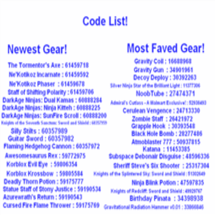 Code List For Gear Roblox Coding Roblox Codes Roblox