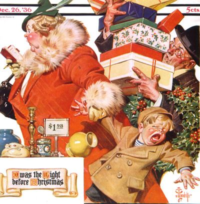 famous thanksgiving paintings | Night Before Christmas by J. C. Leyendecker, December 26, 1936