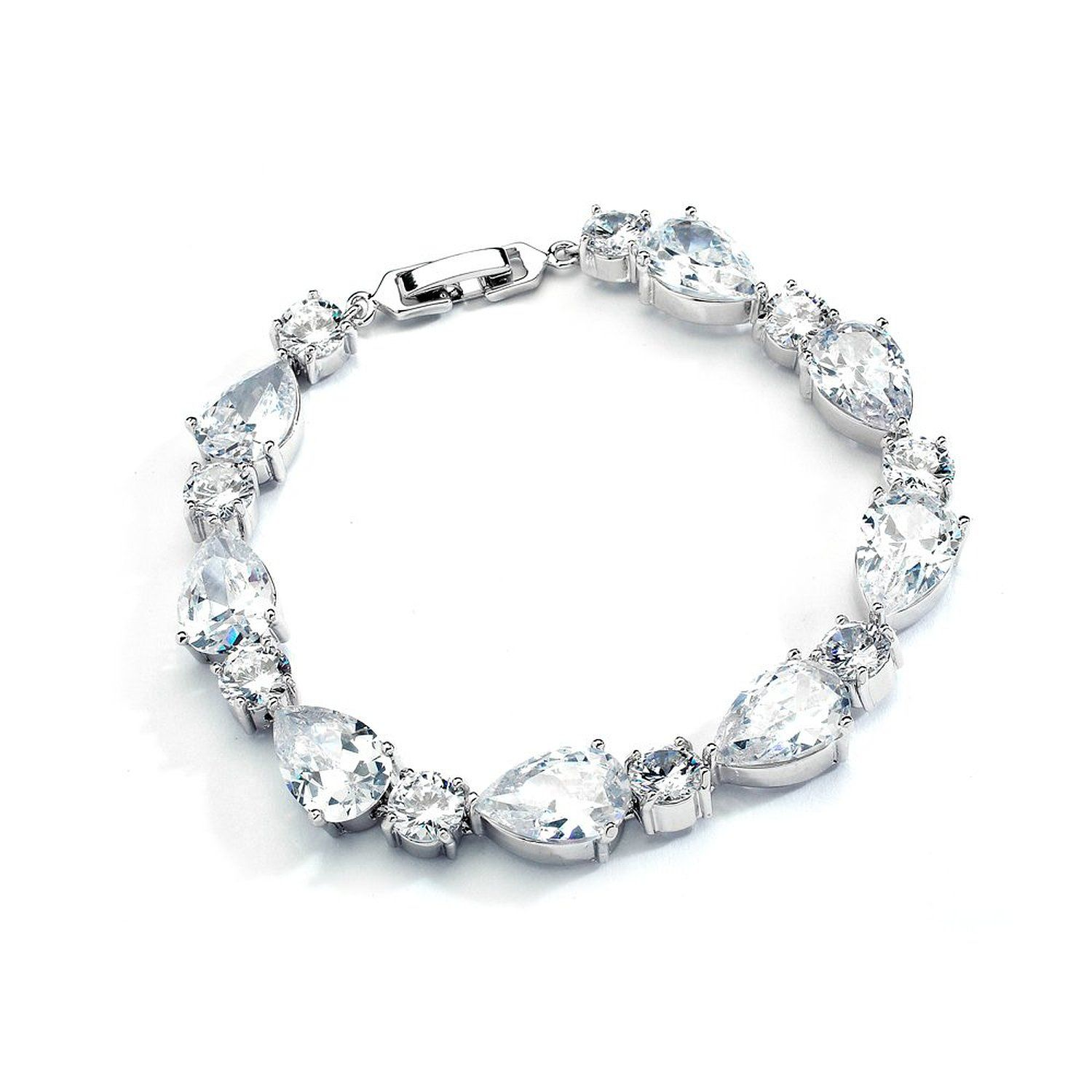 Mariell Glamorous CZ Bridal Bracelet Pear-Shaped and Round Cut - Perfect Wedding and Bridesmaids Jewelry ** Insider's special review you can't miss. Read more  : Jewelry