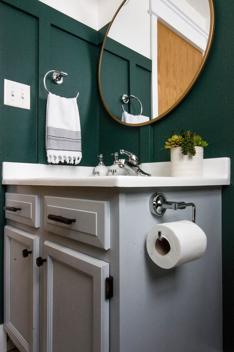 Such A Pretty Gray Painted Bathroom Vanity Love The Polished Chrome Hardware And The Dark Rainfore Green Bathroom Painted Vanity Bathroom Green Bathroom Decor