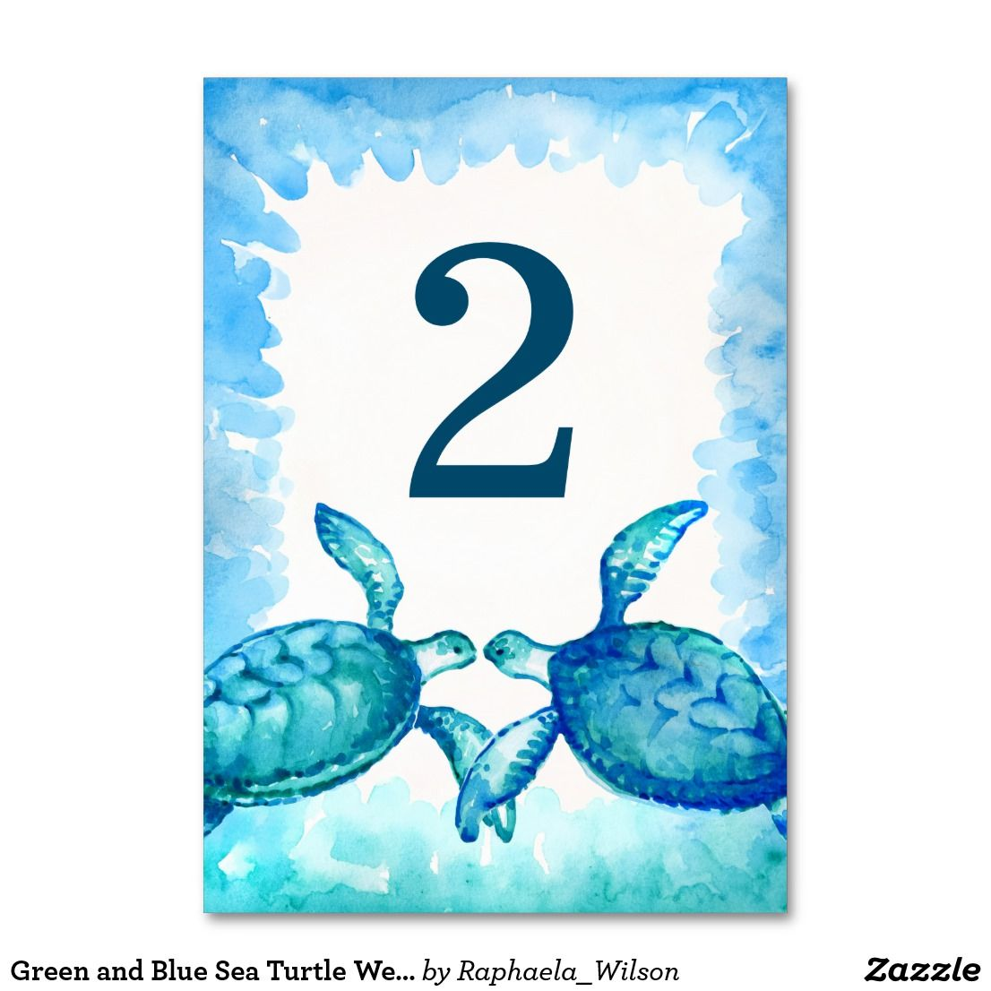 Green And Blue Sea Turtle Wedding Table Numbers Sea Turtle Wedding