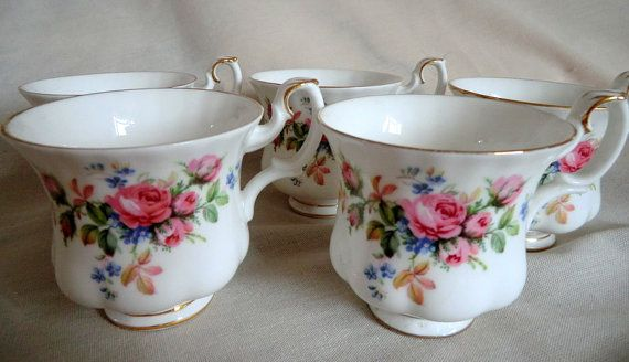 ROYAL ALBERT Moss Rose Coffee Cup and Saucer Vintage Royal Albert