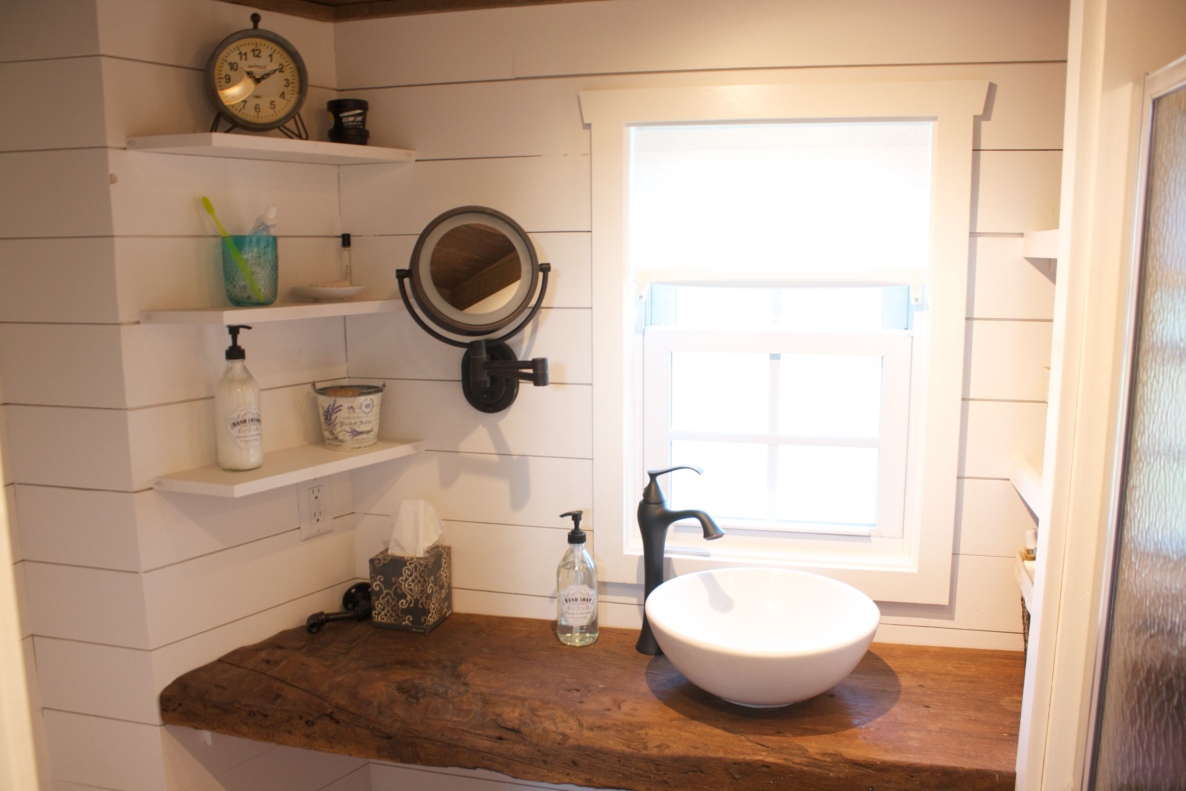 Tiny House Bathroom Vanity Reclaimed Barn Wood With Shiplap