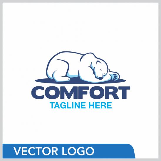 Sleeping Polar Bear Logo Design Template Bear Logo Design Polar