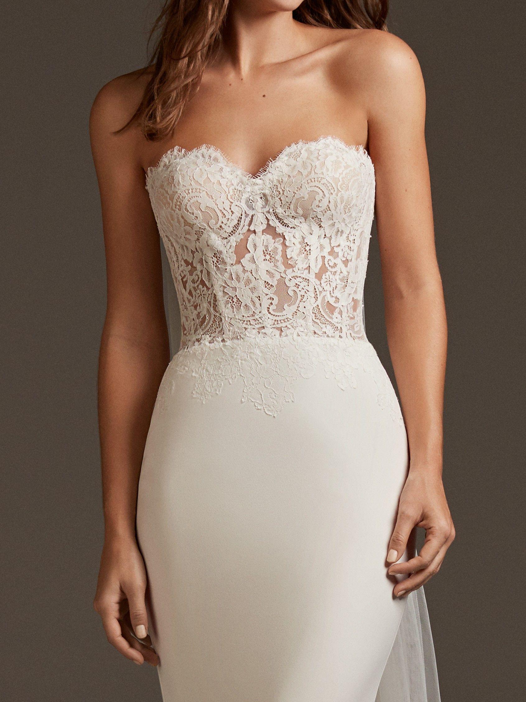 Vela Pronovias Vestidos De Novia Wedding Dresses Strapless Lace Wedding Dress Corset Mermaid Wedding Dress [ 2255 x 1691 Pixel ]