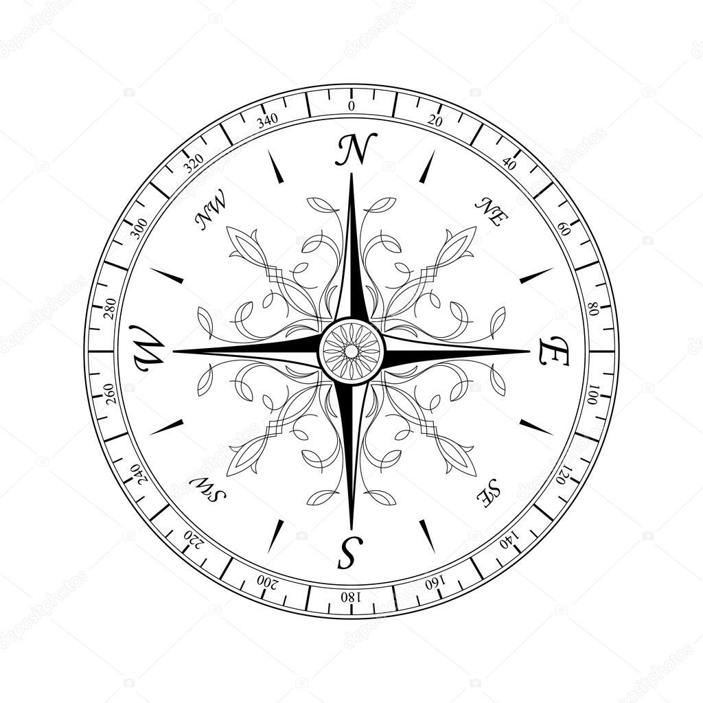 Download Royalty Free Vintage Compass For Design Isolated On White Stock Vector 5279103 From Dep Vintage Compass Tattoo Compass Rose Tattoo Compass Rose Design