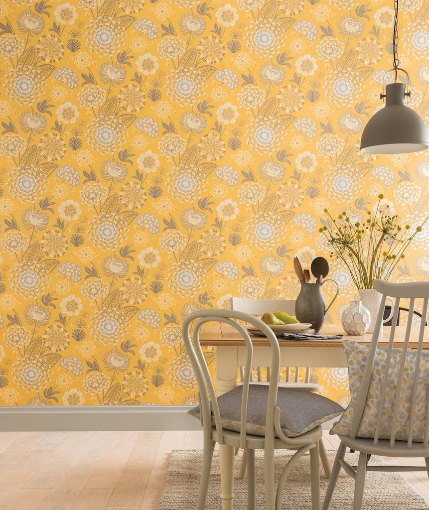 Vintage Bloom Mustard Yellow Mustard Wallpaper Stunning