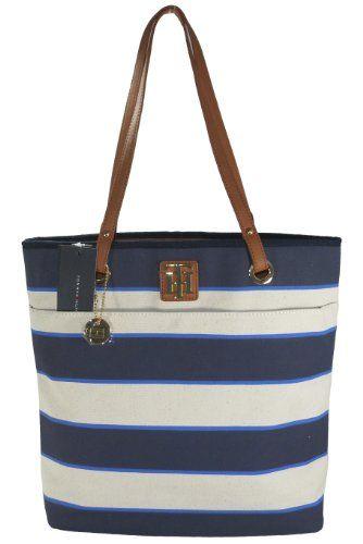 Women's Tommy Hilfiger Medium – Large Shopper Handbag (Navy Blue & White/Ivory Canvas)