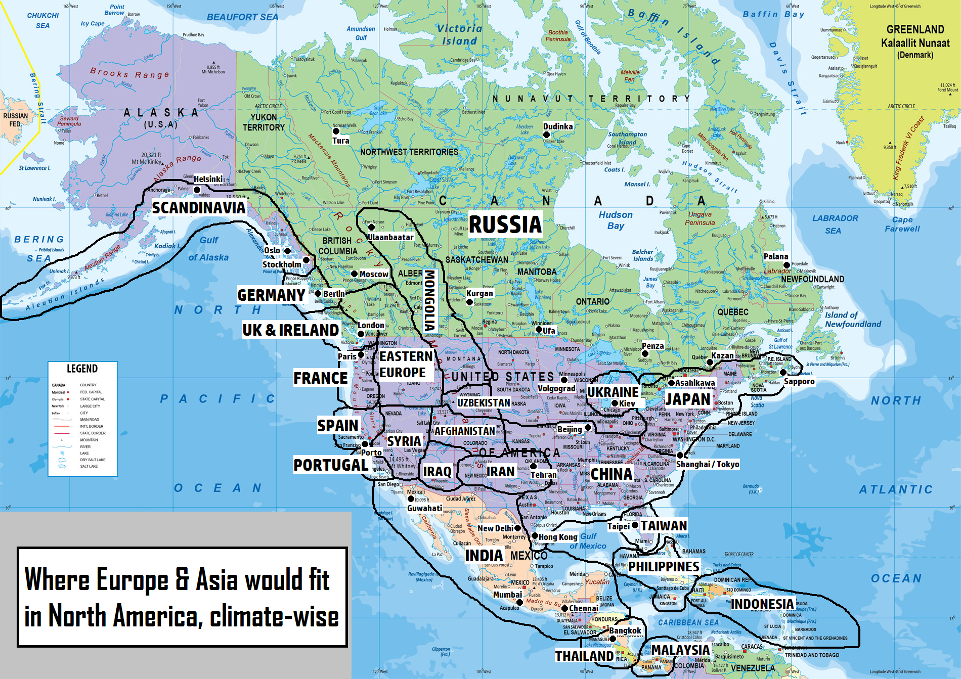 Eurasian North American climate counterparts