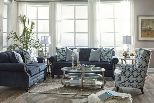 Navy Living Room Set Ashley Lavernia Navy Sofa Loveseat Indigo Accent Chair Coralayne Cocktail Table Wi Navy Living Rooms Living Room Sets Living Room Diy