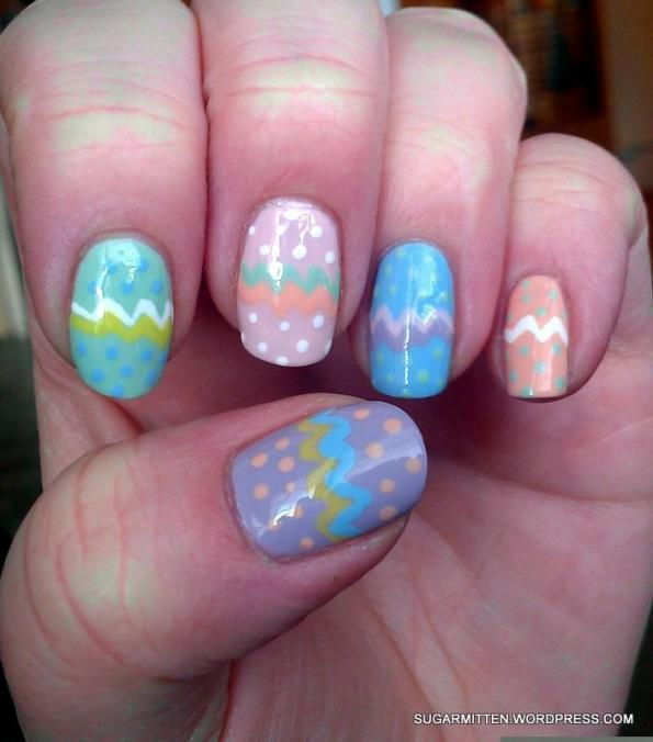 Pastel Skittles with Easter Egg Nail Art | Easter Nail Art ...