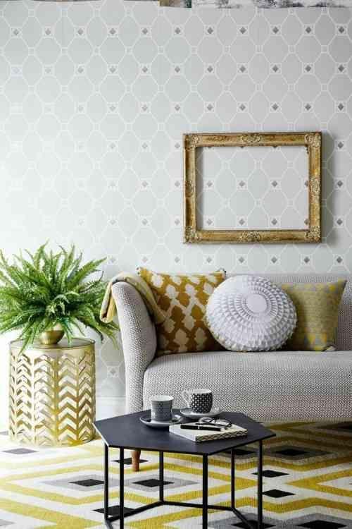 dco salon salon moderne avec dco murale en papier peint