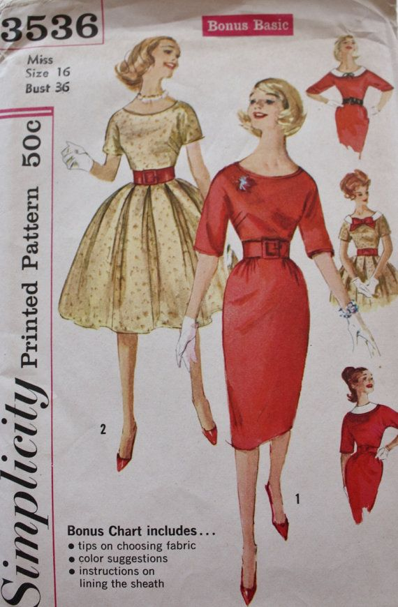 1950er Jahre Kleid Schnittmuster / zwei Röcke / Einfachheit | Eu do ...