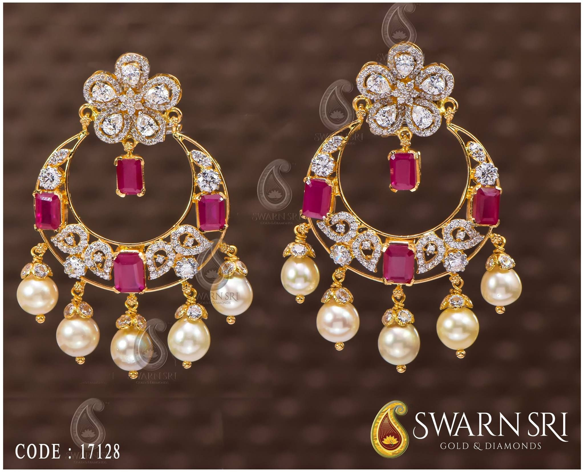 Beautiful gold chaandbali studded with uncut diamonds Earrings with