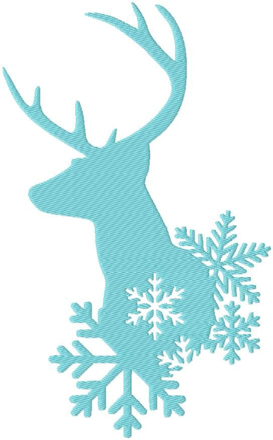 machine Embroidery Design Winter Deer with by BlingSassSparkle