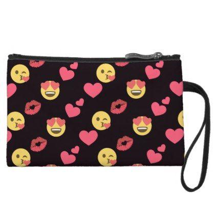 cute sweet emoji love hearts kiss lips pattern wristlet