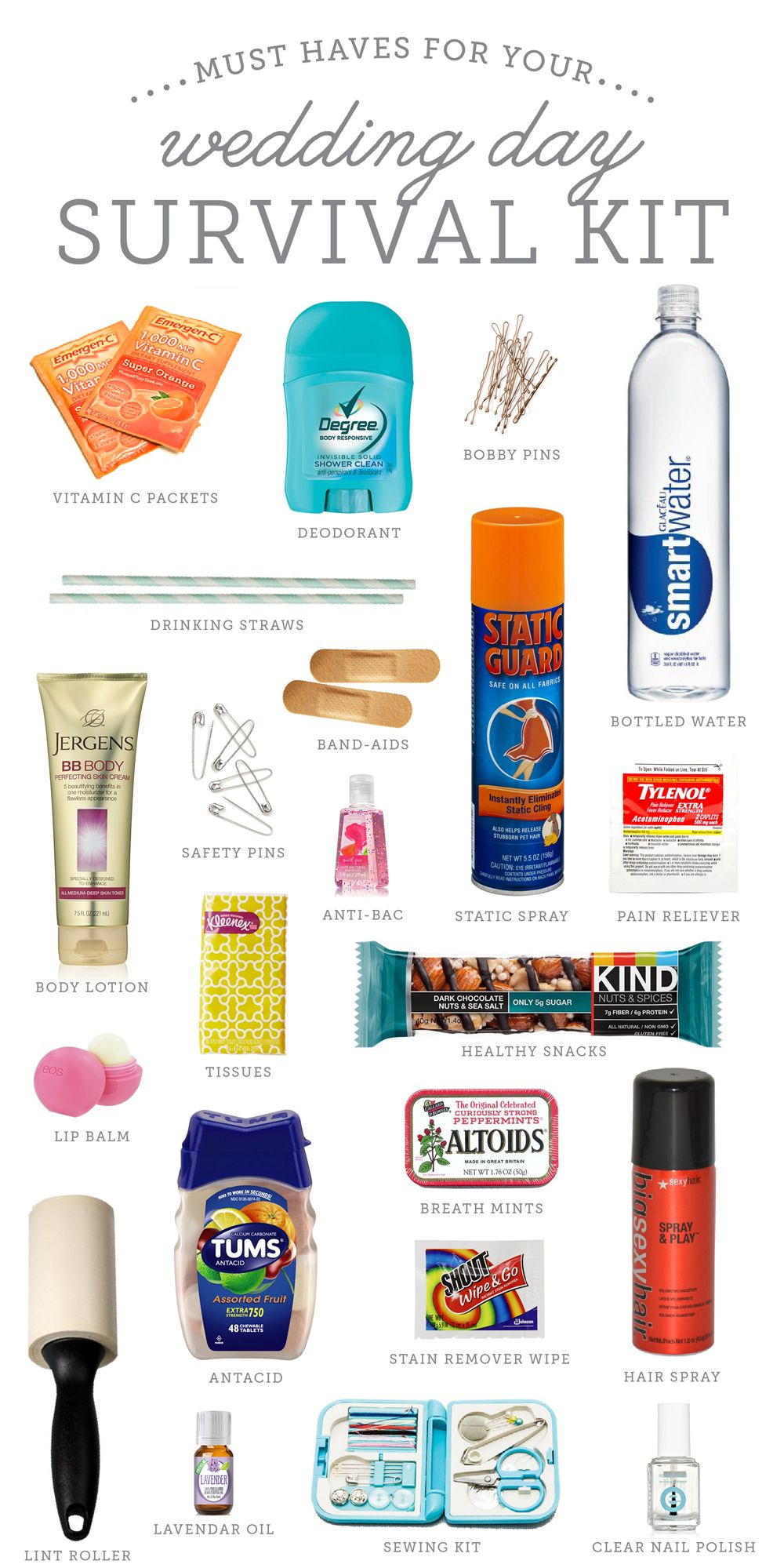 Must haves for a DIY Wedding Day Survival Kit - great idea!! | The Budget Savvy Bride