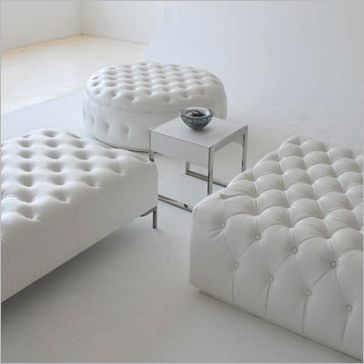White Leather Tufted Ottoman Collection Dimensions Square