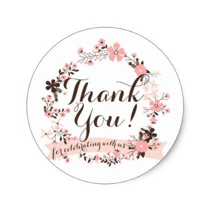 pink and brown floral wreath thank you sticker in 2018 script