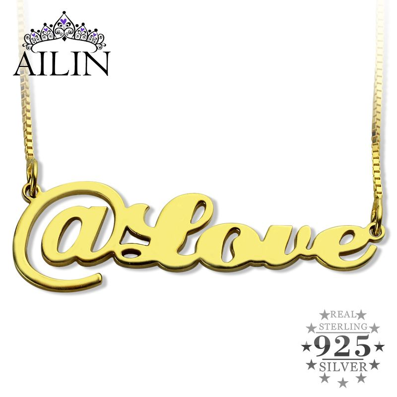Gold Color Script @ Name Necklace Personalized Cut Out Nameplate Necklace @ Somebody Share Your Life Name Jewelry