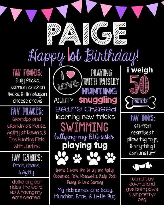 PUPPY Chalkboard Birthday Sign   Puppy Birthday Sign  Birthday Chalkboard Sign  Chalkboard Birthday Poster  Birthday Stats  PRINTABLE