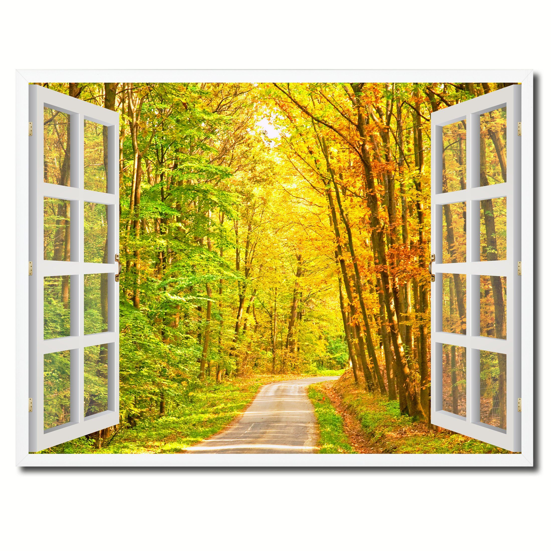 Pathway Autumn Park Fall Forest Picture French Window Framed Canvas ...