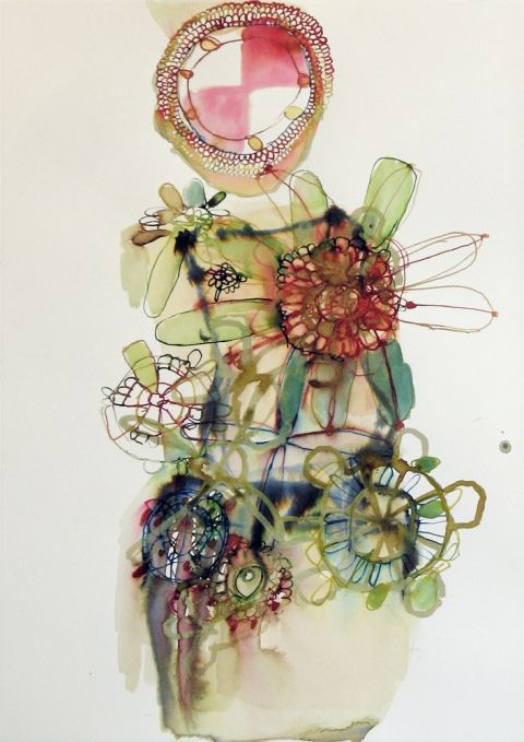 """Elizabeth Terhune weatherthoughts 2009 Bistre, ink and watercolor on paper 22-1/2"""" h x 16"""" w"""