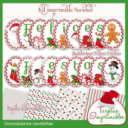 Kit de decoraciones para Navidad Banderines imprimibles, papeles