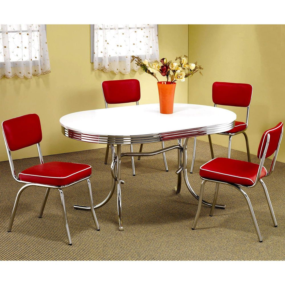 9 Piece Oval Retro 9's Red Chairs Dining Sets Table White Chrome ...
