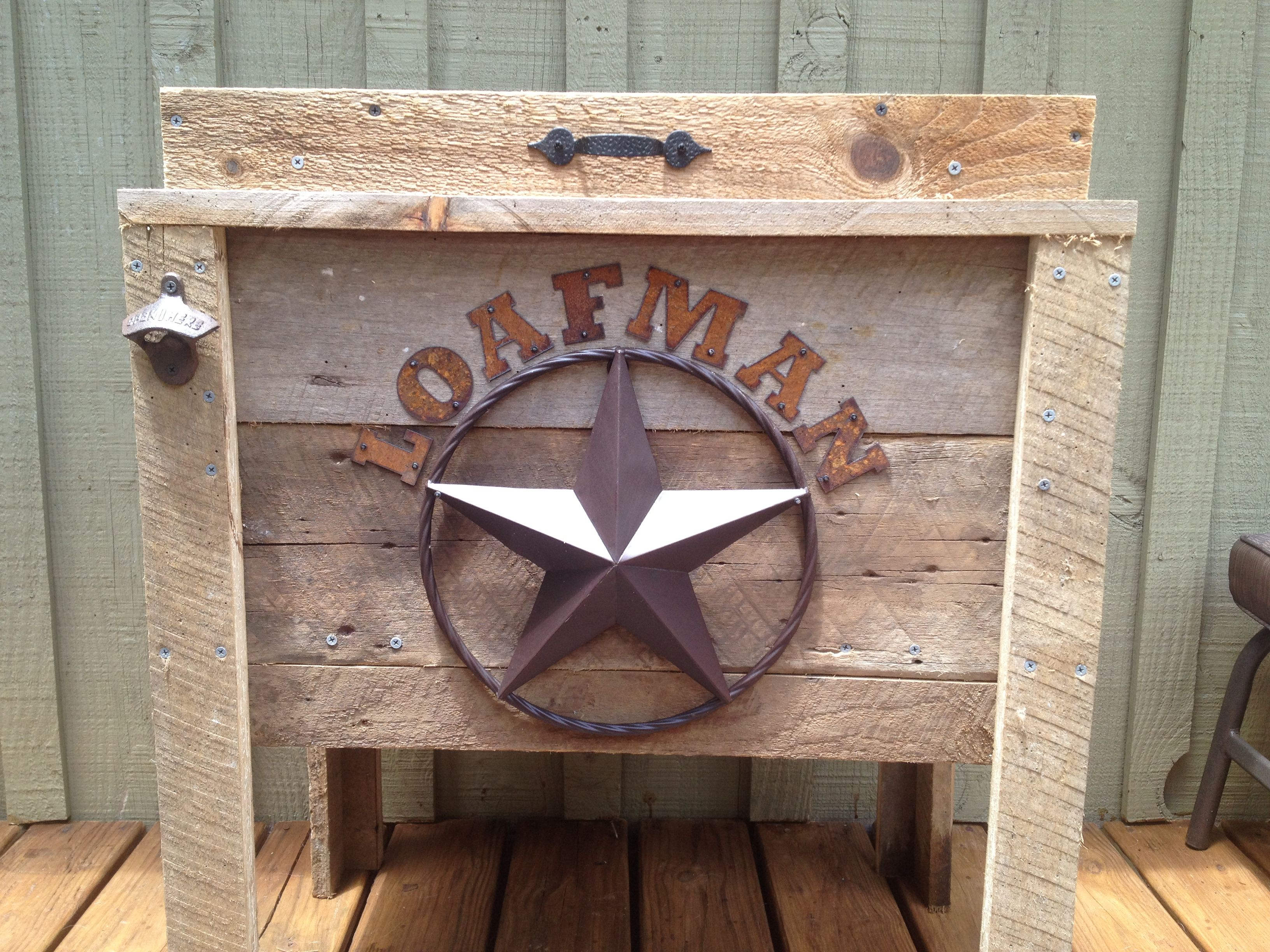 handcrafted custom rustic ice chest for a client for wedding gift