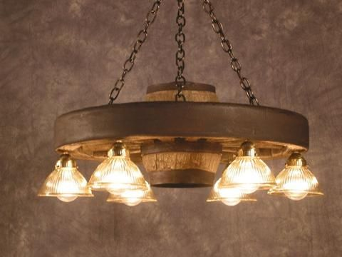 Small Wagon Wheel Chandelier With 6 Downlights Rustic Chandelier