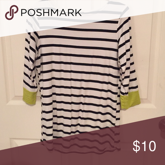 Striped t shirt 3/4 length sleeve black and white striped shirt with lime green details on the sleeve. Colette Malouf Tops Tees - Short Sleeve
