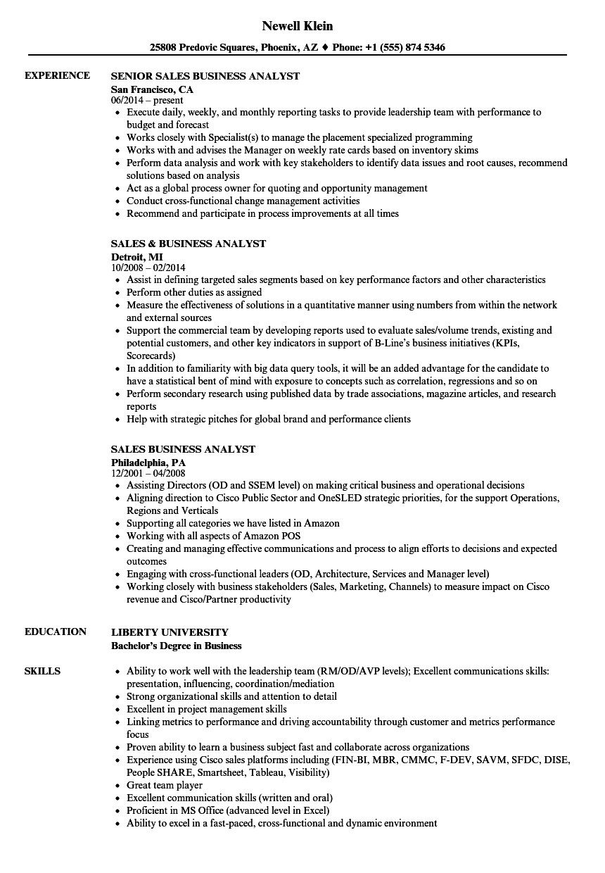 Business Analyst Resume Examples the Best Sales Business