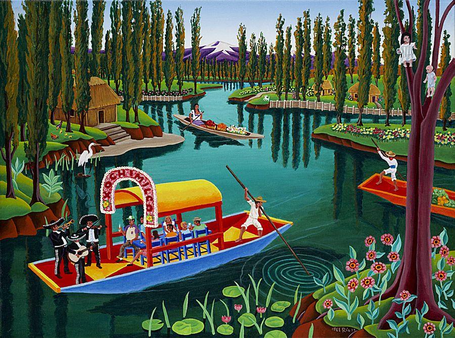 Xochimilco Por Raul Del Rio Arte De Barcos Xochimilco Y