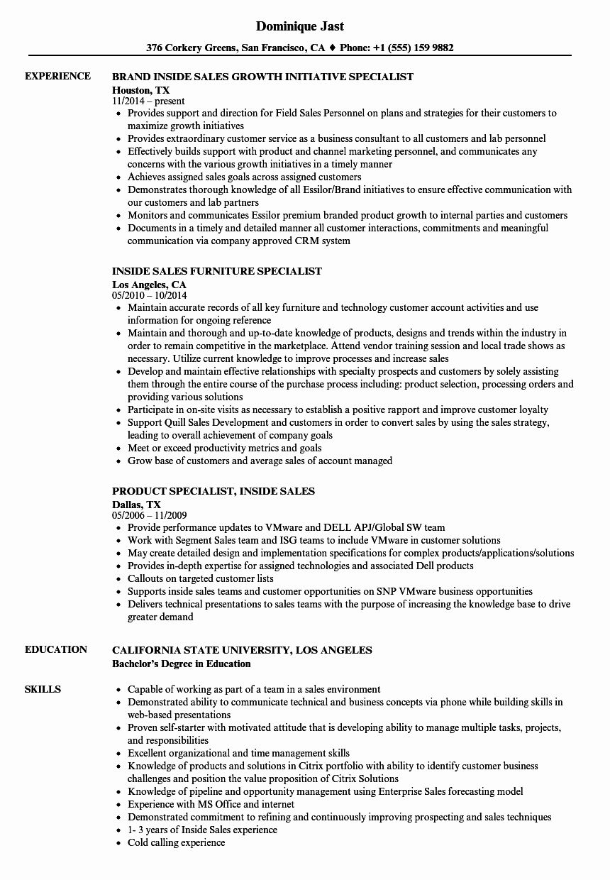 Inside Sales Resume Example Best Of Specialist Inside