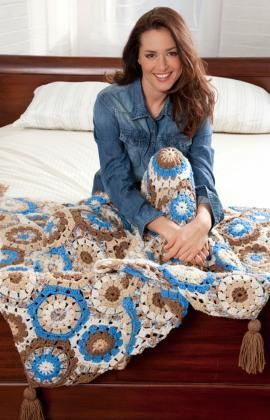 Happy Hexagon Throw Free Crochet Pattern from Red Heart Yarns | Knit