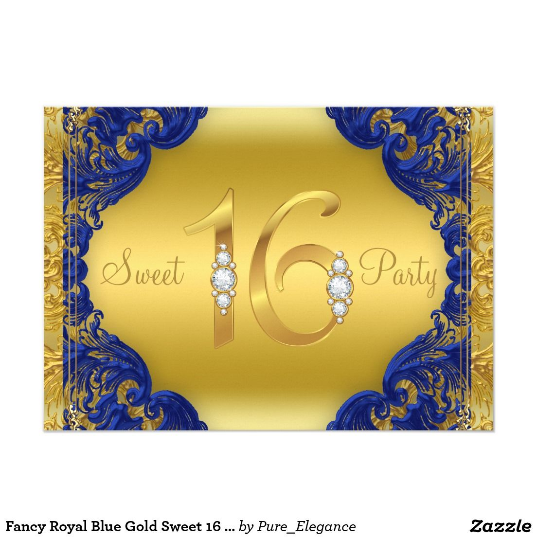 Fancy Royal Blue Gold Sweet 16 Birthday Party Card Sweet 16