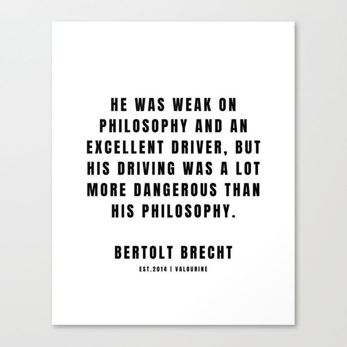 44 | Bertolt Brecht Quotes| 201223| Famous Quote Writer Literature German Poet Poem Philosophy| Author Of Life Of Galileo Canvas Print by Quotes And Sayings