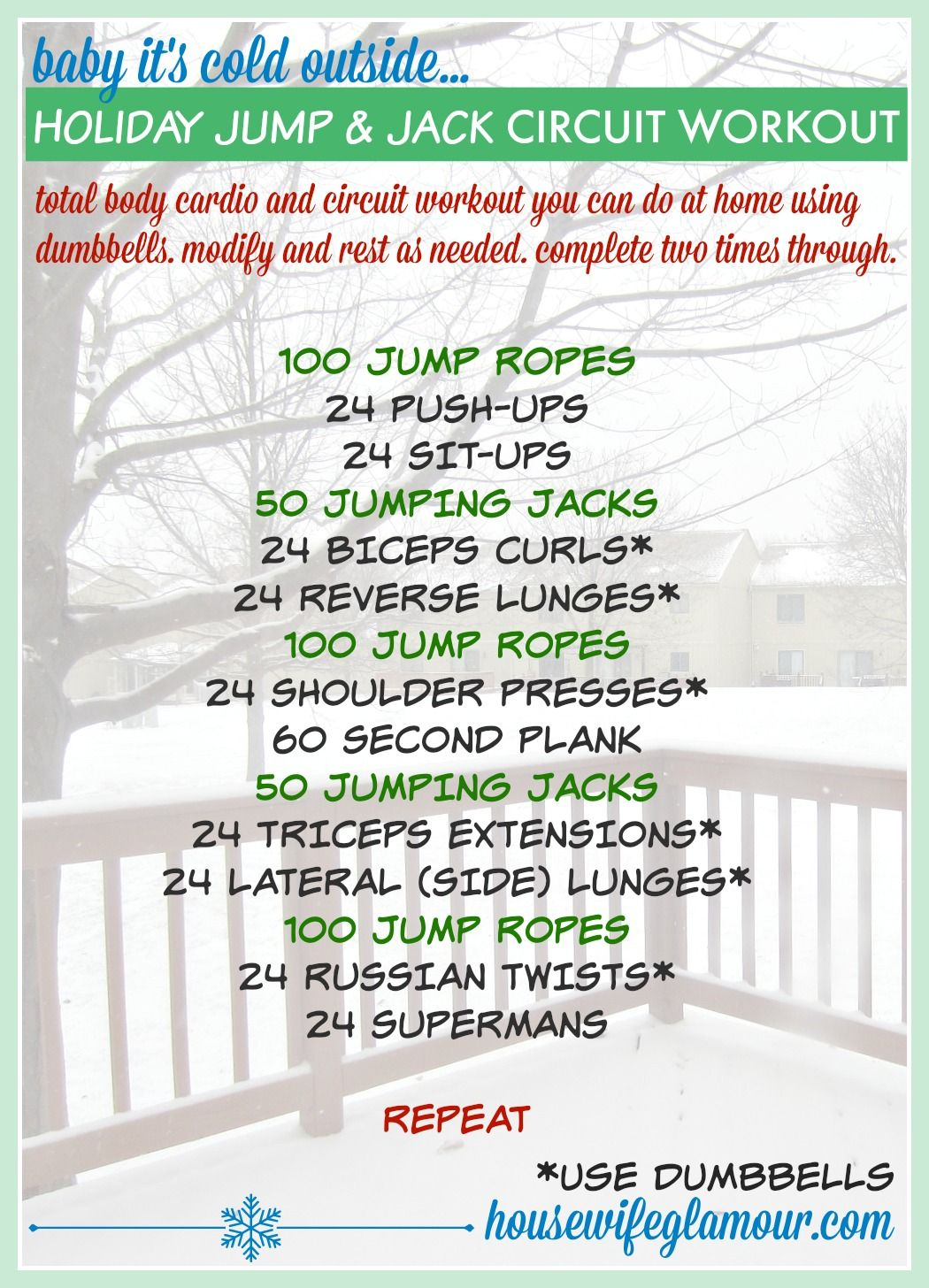 Holiday Jump And Jack Cardio Circuit Workout Healthy Habits Full Body With Weights Workouts Pinterest Training