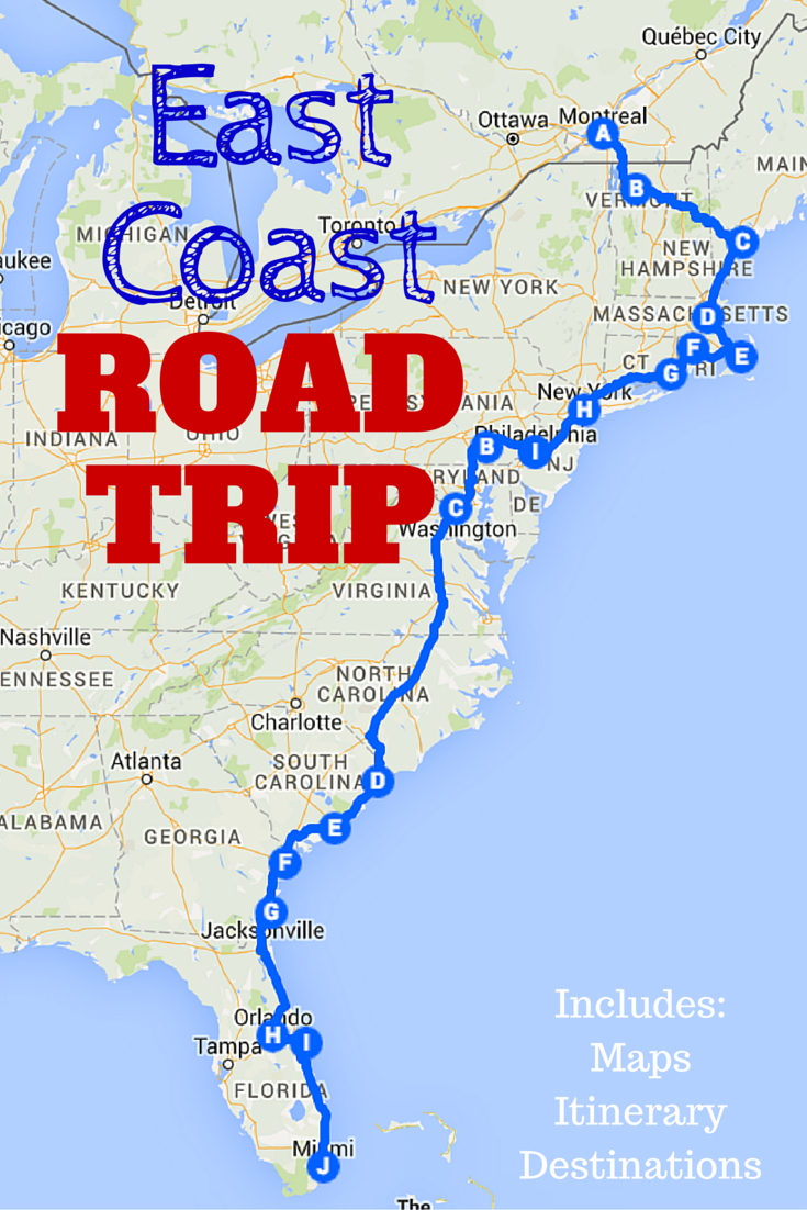 The Best Ever East Coast Road Trip Itinerary! This post includes a guide to the must-visit destinations along the East Coast, detailed maps and a downloadable spreadsheet so you can customize your own East Coast road trip itinerary!