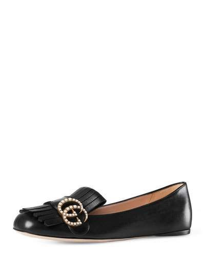 Gucci Marmont Pearly-gg Ballerina Flat