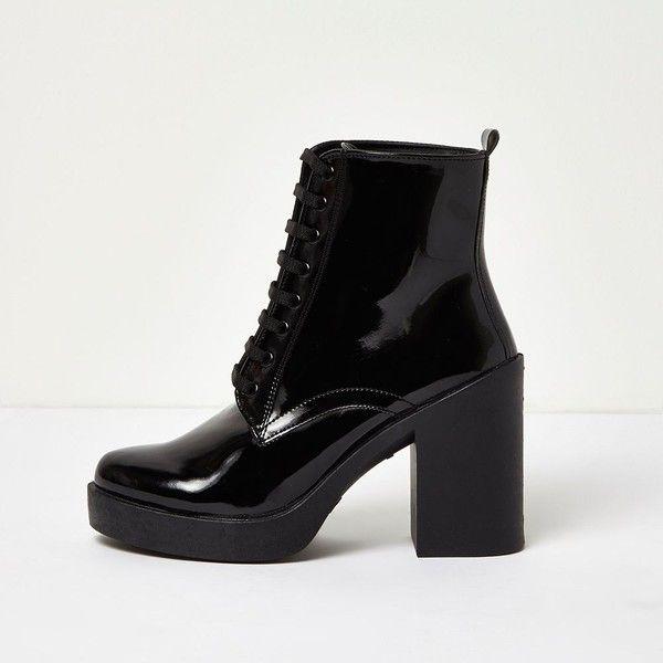 13c86c04126 River Island Black patent chunky platform heel boots (£45) ❤ liked on  Polyvore