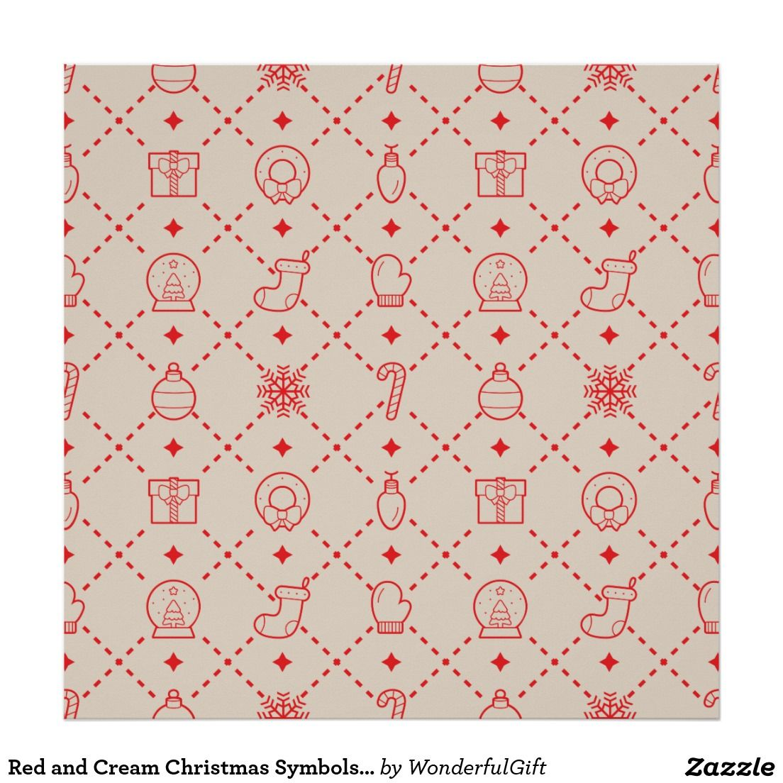 Red and Cream Christmas Symbols Seamless Pattern Poster