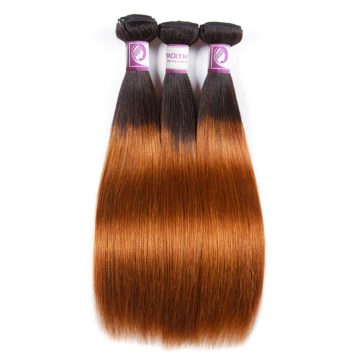 Racily Hair 1B/30 Ombre Brazilian Hair Straight 3 Bundles