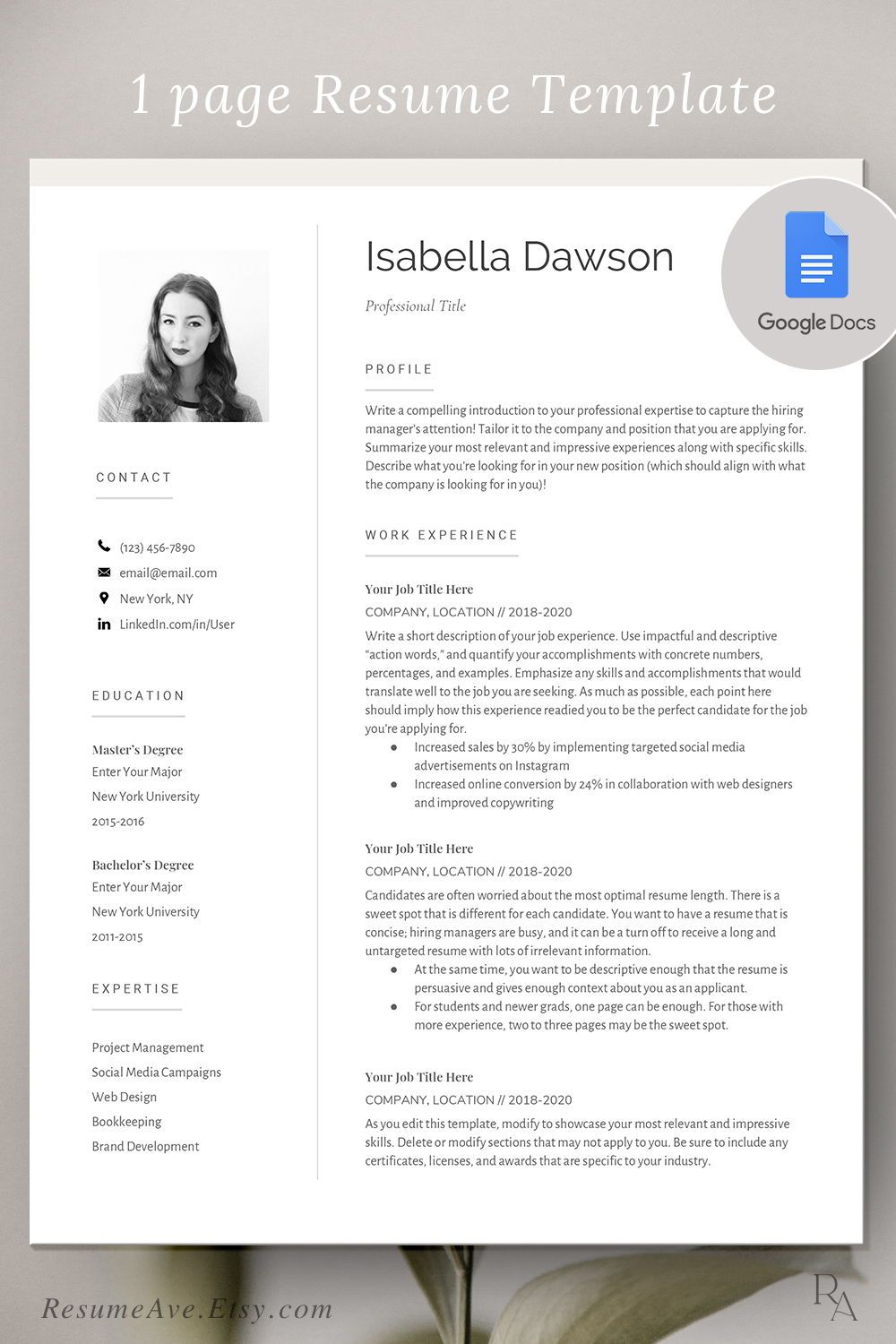 Modern Google docs resume for executives cv template for